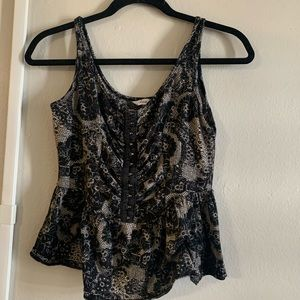 Sexy lace look - bustier style peplum style top